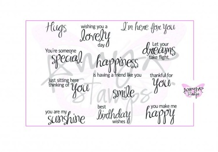 BE HAPPY SENTIMENTS Rubber Stamp Set AmyR Collection from C.C. Designs
