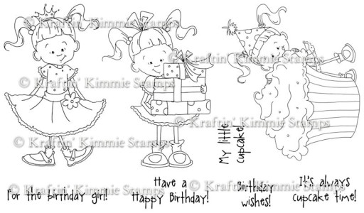 BIRTHDAY LULU Rubber Stamp Set by Cheryl Alger from Kraftin Kimmie Stamps
