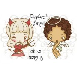 NAUGHTY OR NICE Rubber Stamp Set Cheeky Cherry Collection from The Greeting Farm