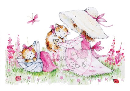 KITTY PICNIC Clear Stamp Annabelle's Meadow Collection from Wild Rose Studio