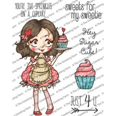 **REORDER** DOLLIE WITH CUPCAKE Rubber Stamp Set Dollie Collection from The Greeting Farm