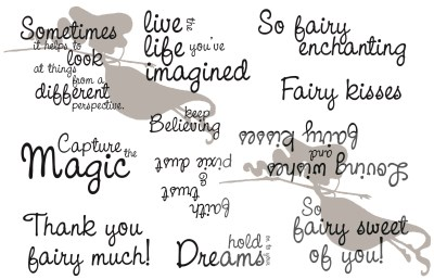 A LITTLE BIT OF MAGIC SENTIMENTS Rubber Stamp Set Sweet November Mythical Creature Collection from C.C. Designs