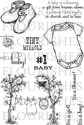 HELLO BABY! Clear Stamp Set from Flourishes