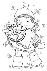 TILDA WITH RIBBON HEART SCARF Rubber Stamp Adopt A Stamp Special Series Collection from Magnolia