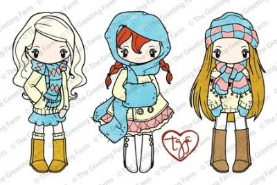 MISS ANYA SCARVES  Rubber Stamp Set Anya & Ian Collection from The Greeting Farm