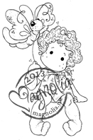 New! SITTING TILDA WITH BUTTERFLY Rubber Stamp Once Upon a Time Collection from Magnolia