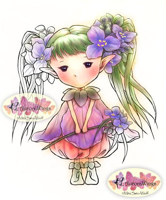 SPIDERWORT SPRITE Rubber Stamp Aurora Wings Mitzi Sato-Wiuff Collection from Sweet Pea Stamps