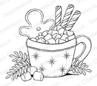 HOT CHOCOLATE DELIGHT Cling Cushion Rubber Background Stamp from Impression Obsession