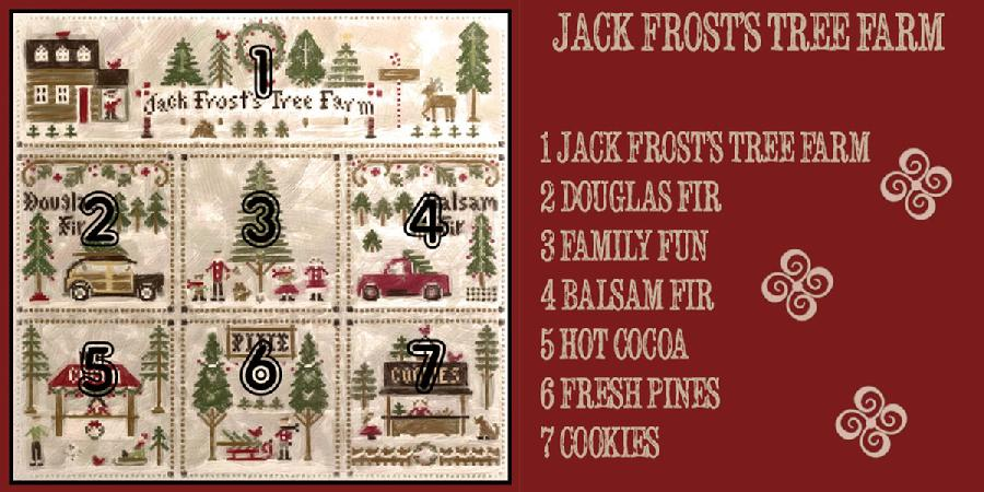 Jack Frost's Tree Farm Series - COMPLETE SERIES Set of 7 Cross Stitch Charts from Little House Needleworks
