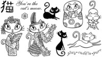 CAT PLATE 2 Stamp Set from Pink Cat Studio