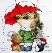 IZZZY'S SNOWY UMBRELLA Rubber Stamp CandiBean Collection from Little Darlings Rubber Stamps