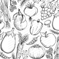 Cover-A-Card VEGETABLE MEDLEY Cling Cushion Rubber Background Stamp from Impression Obsession