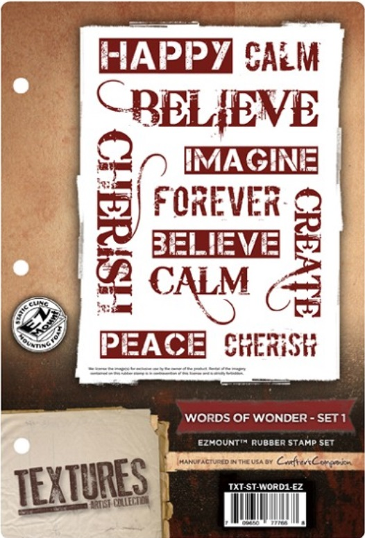 WORDS OF WONDER SET 1 - EzMount Rubber Stamp Set Textures Artist Collection from Crafter's Companion