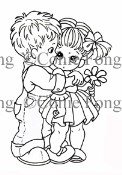 FIRST KISS Rubber Stamp Connie Fong Collection from Sweet Pea Stamps