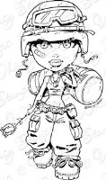 GIRL SOLDIER Rubber Stamp Kenny K Collection from Whimsy Stamps