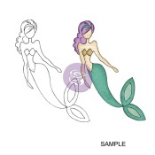 SEA SALLIE MERMAID Mixed Media Doll Cling Stamp Julie Nutting Collection from Prima Marketing