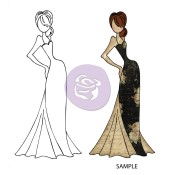 TASHA DOLL WITH EVENING DRESS Mixed Media Doll Cling Stamp Julie Nutting Collection from Prima Marketing