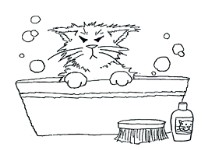 KITTY IN TUB Stickable Rubber Stamp from Great Impressions