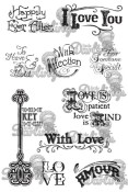 LOVE Rubber Stamp Set Vintage Affections Collection from Little Darlings Rubber Stamps LDRS
