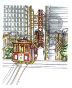 AROUND THE WORLD SAN FRANCISCO TROLLEY Background Rubber Stamp from Little Darlings Rubber Stamps LDRS