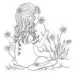 LITTLE GIRL IN SPRINGTIME Stickable Rubber Stamp from Great Impressions
