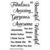 SIMPLY FABULOUS SAYINGS Clear Stamp Set Clearly Sentimental Collection from My Favorite Things MFT Stamps