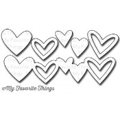 **PREORDER** New! DIE-NAMICS STAGGERED HEART BORDER DIE SET from My Favorite Things MFT Stamps