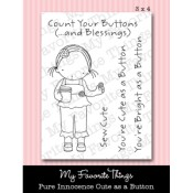 CUTE AS A BUTTON Clear Stamp Set Pure Innocence Collection from My Favorite Things MFT Stamps