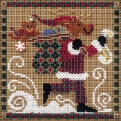 DASHING REINDEER Winter Buttons & Beads Counted Cross Stitch Kit from Mill Hill