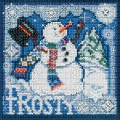 FROSTY Winter Buttons & Beads Counted Cross Stitch Kit from Mill Hill