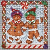 GINGER FRIENDS Winter Buttons & Beads Counted Cross Stitch Kit from Mill Hill