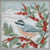 NUTHATCH Winter Buttons & Beads Counted Cross Stitch Kit from Mill Hill