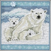 POLAR BEARS Winter Buttons & Beads Counted Cross Stitch Kit from Mill Hill