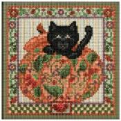 PEEK-A-BOO PUMPKIN Autumn Buttons & Beads Counted Cross Stitch Kit from Mill Hill