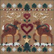 REINDEER SAMPLER Winter Buttons & Beads Counted Cross Stitch Kit from Mill Hill