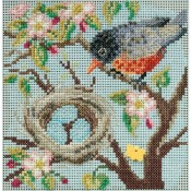 SPRING ROBIN Spring Buttons & Beads Counted Cross Stitch Kit from Mill Hill