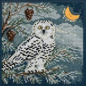 SNOWY OWL Winter Buttons & Beads Counted Cross Stitch Kit from Mill Hill