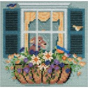 WINDOW BOX Spring Buttons & Beads Counted Cross Stitch Kit from Mill Hill