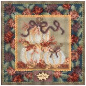WHITE PUMPKINS Autumn Buttons & Beads Counted Cross Stitch Kit from Mill Hill