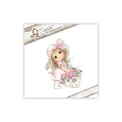**PREORDER** New! TILDA WITH ROSE BASKET Cling Rubber Stamp Pink Lemonade Collection from Magnolia