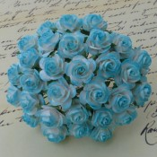 **PREORDER** Wild Orchid Crafts 2-TONE LIGHT TURQUOISE MULBERRY PAPER OPEN ROSES