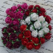 **PREORDER** Wild Orchid Crafts MIXED RED TONE WHITE AND FUCHSIA PINK COLOR OPEN ROSES