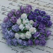 **PREORDER** Wild Orchid Crafts MIXED PURPLE LILAC AND WHITE COLOR OPEN ROSES