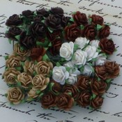 **PREORDER** Wild Orchid Crafts MIXED BROWN TONE AND WHITE COLOR OPEN ROSES