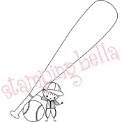 BASEBALL PEEP Rubber Stamp Green Bean Baby by Ellia Collection from Stamping Bella