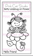 BETTY  LADYBUG ON FLOWER Stamp Set from Pink Cat Studio