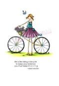FLORA AND HER BICYCLE Rubber Stamp Uptown Girls Collection from Stamping Bella