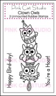 CLOWN OWLS Stamp Set from Pink Cat Studio