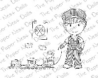 TRAIN CONDUCTOR OWEN Rubber Stamp from The Paper Nest Dolls