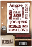 WORDS OF WONDER SET 2 - EzMount Rubber Stamp Set Textures Artist Collection from Crafter's Companion